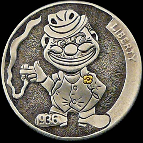 Hobo Nickel Engraved With Ho Jo The Bum, A Smiling Man Holding A Smoking Cigarette, Wearing A Hat And Suit With A Gold Flower In The Lapel