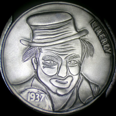 Hobo Nickel Engraved With Hooligan Harry, A Man With Clownlike Features