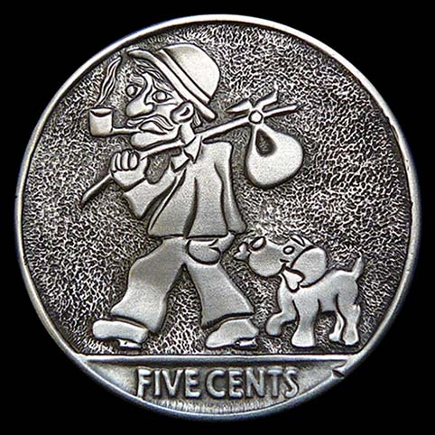 Hobo Nickel Engraved With Dusty, A Hobo, And Digger, His Dog