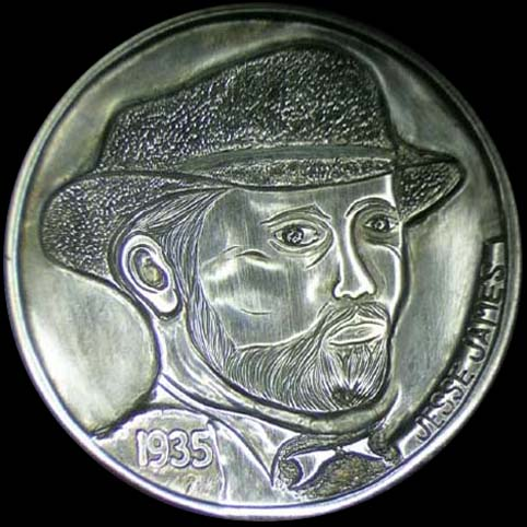 Jessie James Hobo Nickel Engraved With A Bearded Man Wearing A Hat