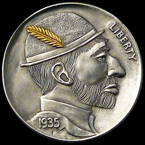 Hobo Nickel Engraved With A Bearded Man Wearing A Bowler Hat With A Gold Feather In It.