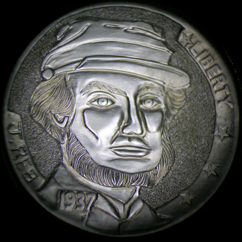 Hobo Nickel Engraved With A Bearded Rebel Civil War Soldier Wearing A Kepi Cap