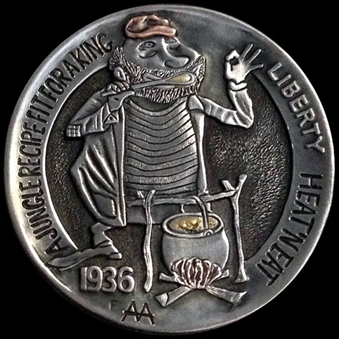Hobo Nickel Engraved With Lem The Hobo Soup Guy. Lem Is Seen Wearing A Striped Shirt, Tattered Jacket, and Flattened Hat, Tasting Soup, Standing in Front of a Campfire With Cooking Pot.
