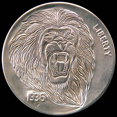 Hobo Nickel Engraved With Roaring Lion