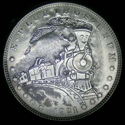 Morgan Silver Dollar Engraved With A Clown Riding On Top Of A Train, Little Engine, With Box Cars And Animals