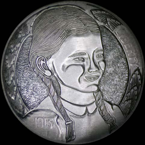 A Young Girl With Pigtails, Laura Ingalls, From Little House On The Prairie, Engraved On A Coin