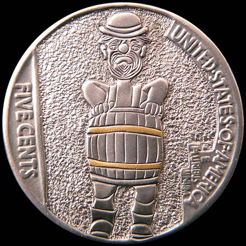 Hobo Nickel Engraved With Hobo Wearing Barrel With Gold Bindings For Clothes