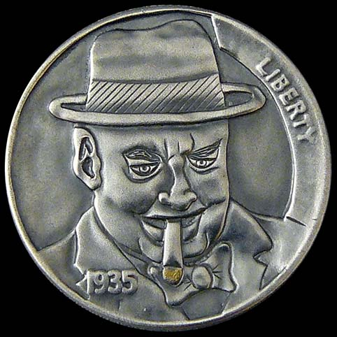 Hobo Nickel Engraved With Mack, A Man Wearing a Fedora Hat With Striped Hatband Smoking A Cigar With Gold Ash.