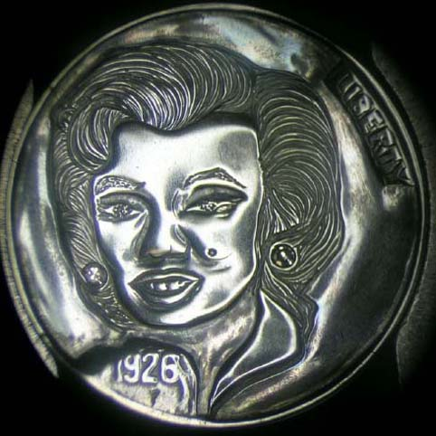 Hobo Nickel Engraved With A Woman, Marilyn Monroe, With Shoulder Length Hair, Earrings, And Birthmark