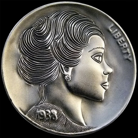 Hobo Nickel Engraved With The Bust Of Mary, A Young, Neatly Coiffed Woman With A .005ct Carat Diamond Earring.