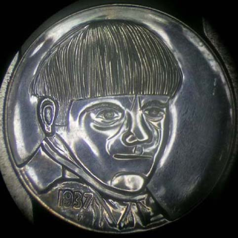 Hobo Nickel Engraved With A Man, Moe Howard Of Three Stooges, With Bowl Cut Hair And Scowl
