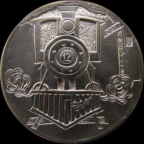 Hobo Nickel Engraved With Train Pulling Through Montville Station