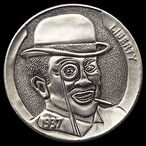 A Man Wearing A Monocle And Hat With Cigarette Holder In Mouth Engraved Coin