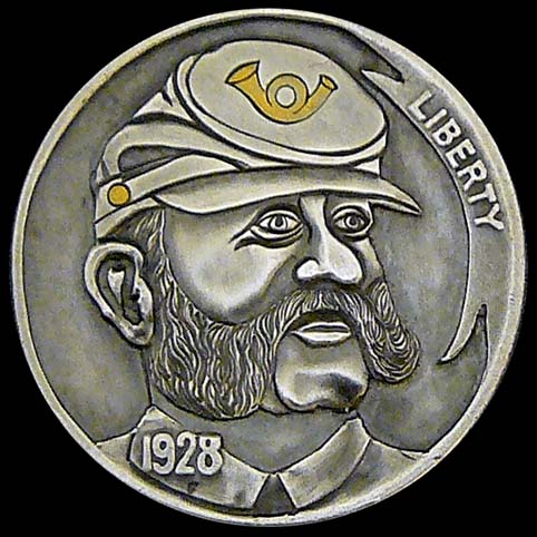 Hobo Nickel Engraved With Mutton Chops Civil War Soldier, A Man Wearing a Kepi Cap With Gold Bugle Insignia (infantry insignia).