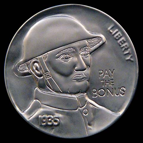 Hobo Nickel Engraved With World War One Doughboy And The Words 'PAY THE BONUS'