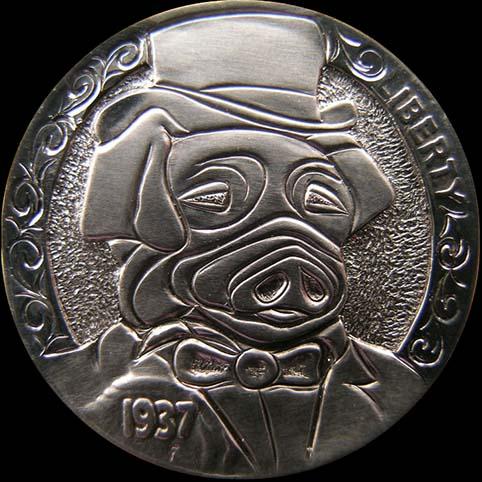 A Pig Wearing A Tophat, Bowtie, and Tux Engraved On A Coin