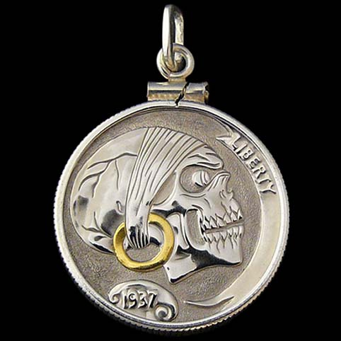 Pendant - Other View Of Pirate Skull Hobo Nickel Pendant