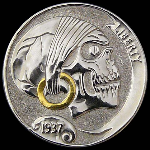 Hobo Nickel Engraved With A Pirate Skull With Gold Earring And Mounted As A Pendant