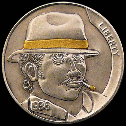 Hobo Nickel Engraved With Rico Suave, A Mustached Man Wearing A Hat While Smoking A Cigarette With A Gold Ash