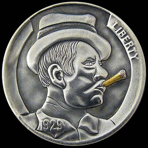 Hobo Nickel Engraved With Rocco, A Man Wearing a Fedora Hat Smoking A Gold Cigar With Copper Ash.