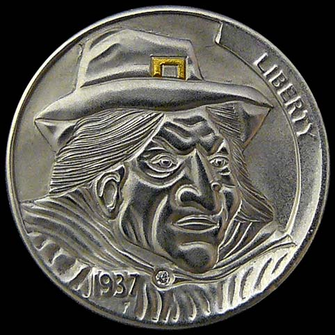 Hobo Nickel Engraved With A Puritan Witch Trial Judge With Robe, Cape, Hat, .005 Carat Diamond, And Gold Buckle