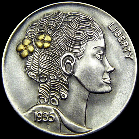 Hobo Nickel Engraved With Suzie, A Beautiful, Smiling Woman With Two 24 Karat Gold Flowers In Her Long, Curly Hair