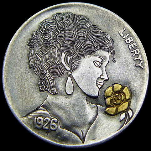 Hobo Nickel Engraved With Sweet Rose, A Beautiful, Smiling, Wavy Haired Woman With Dangle Style Earring Smelling A 24 Karat Gold Rose