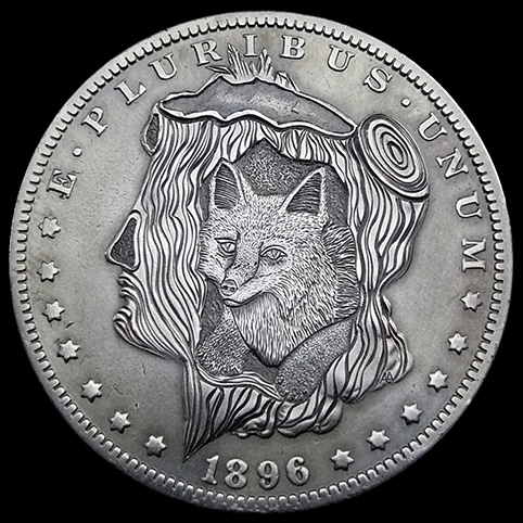 Morgan Fox Den Silver Dollar Engraved With A Fox Resting In The Hollow Base Of A Tree Stump.