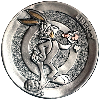 Hobo Nickel Engraved With Bugs Bunny of Looney Tunes With Gold and Copper Inlay