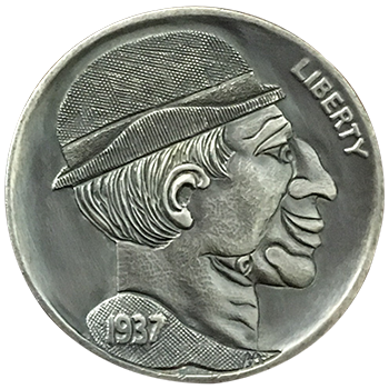 Hobo Nickel Engraved With The Freak Brothers, A Man With Two Faces In One. One Face Is Right Side Up, The Other Face Is Upside Down.