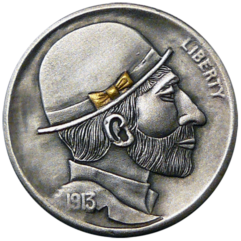 Hobo Nickel Engraved With A Hobo Named Jack Sporting A Neatly Trimmed Full Beard And Mustache Wearing A Bowler Hat With A Gold Bow