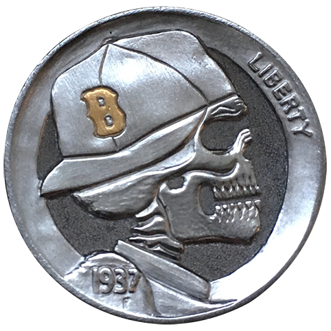 Hobo Nickel Engraved With Die-hard Series Red Sox Fan, An Engraved Nickel With The Skeletal Profile Of A Red Sox Fan Wearing A Boston Cap With Gold B.