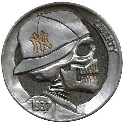 Hobo Nickel Engraved With Die-hard Series Yankees Fan, An Engraved Nickel With The Skeletal Profile Of A Yankees Fan Wearing A Boston Cap With Gold Letters