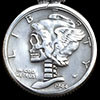Skullified Mercury Dime Sterling Silver Pendant